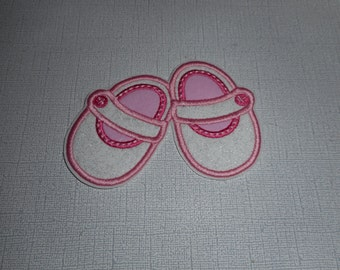 Free Shipping  Ready  To Ship Baby Shoes Fabric  Machine Embroidery  iron on applique