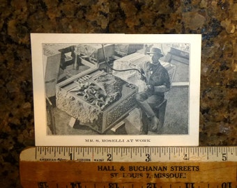 Antique Business Card for Headstone and Mausoleum Company. Chicago 1910. S Roselli Monument Co. Photo on one side of Stone Cutter at Work.