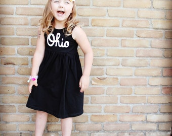 OHIO Dress, Black and White dress,  OR Gray and Red, Ohio made (made to order unless in stock), State dress