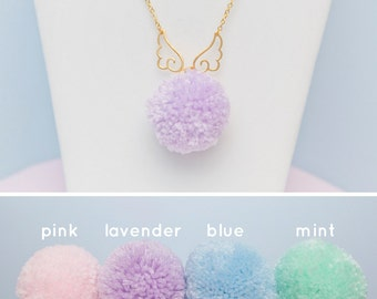 Winged Pompom Necklace