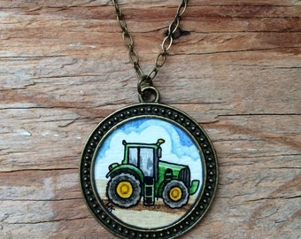 Tractor Art Necklace - Hand Painted Watercolor Pendant Necklace, Farm Love
