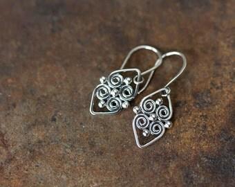 Small Silver Earrings, Artisan Handcrafter Sterling Silver Earrings, Celtic Spiral Heart