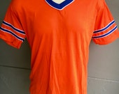Orange and Blue 1980s vintage athletic tee shirt deadstock - size L/XL