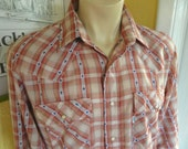 Levis Western 1980s long sleeve House of Cards plaid shirt - size extra large