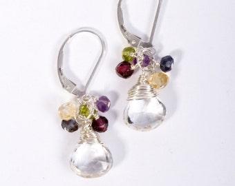 SALE, Gemstone Earrings, Multi Gemstone Earrings, Multi Stone Earrings, Gemstone Cluster Earrings, Cluster Earrings, Earrings Stone, Earring