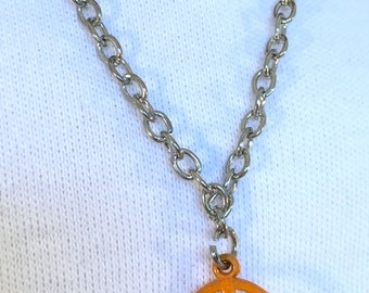 American Girl Sized Necklace With Orange Peace Sign Charm on a Silver Chain