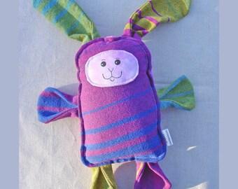 Diamond Bunny - Pellicanos Baby Brilla Diamond Wrap Scrap Bunny Pillow Plush - Hand Drawn Face