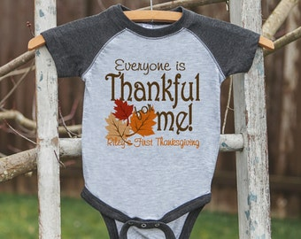 Babys First Thanksgiving Outfit - Thankful for Me Shirt - Grey Raglan Onepiece or Tshirt - Baby Boy or Girl First Thanksgiving Outfit