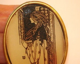Silhouette of Lady Vintage Jewelry Brooch KL Design