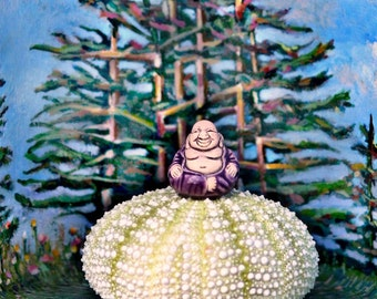 ART, BUDDHA BOX, Serene Buddha in a Cigar Box2, Original Shadow Box Art, Maine, landscape, Original Mixed Media, assemblage, Serenity Now