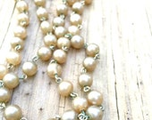 Vintage - Faux Pearl Necklace - Caramel - Spring Clasp