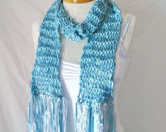 Baby blue scarf Knit ribbon yarn scarf Silver fringe bow neck tie scarf Ladies office accessory Gift for teen girls Skinny scarf Spring