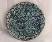 Glossy, Ceramic Plate with Decorative, Lace Texture