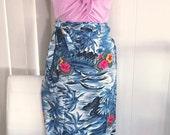 Vintage Hawaiian Rayon Wrap Sarong Skirt -- Coverup -- Size M-L