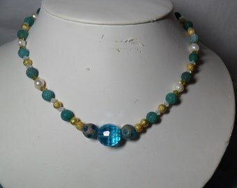 Teal Fire Agate, Gold Dust beads, Pearls and Swarovski Necklace  (5/2016)