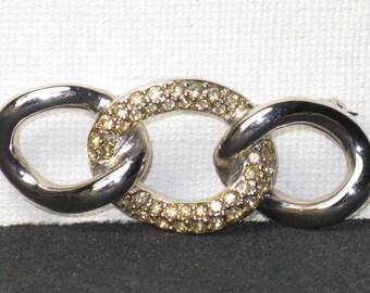 Vintage Christian Dior Silver Tone Triple Chain Link Brooch Pin (B-1-3)