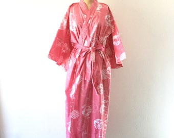 Vintage Kimono Pink White Floral Print Cotton Long Japanese Robe OS