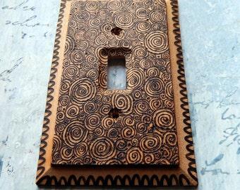 Spirals, wood burned switch plate cover, free form, spirals, swirls, natural wood, matte finish