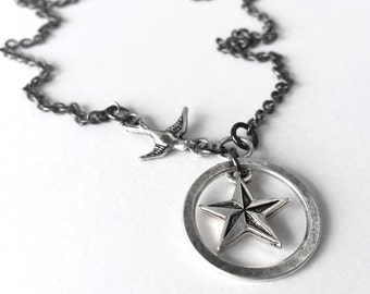Nautical Star and Sparrow Simple Silver Necklace