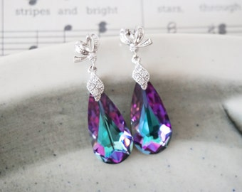 Katelyn - Swarovski Vitrail Light Faceted Teardrop Crystal Earrings, Ribbon Ear Studs, Cubic Zirconia Crystal Bail