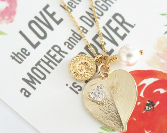Personalised Initial letter Gold Heart Leaf - Cubic Zirconia Heart Crystal Necklace, Gold Wedding Bridal Bridesmaid Necklace Jewelry