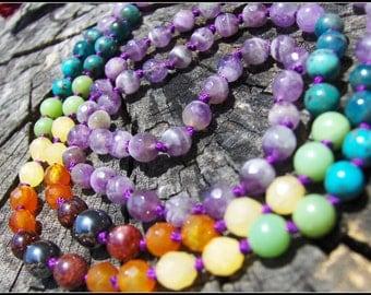 Amethyst Mala, Chakra Mala, Rainbow Mala, Purple Mala, Chakra Prayer Beads, Rainbow Prayer Beads