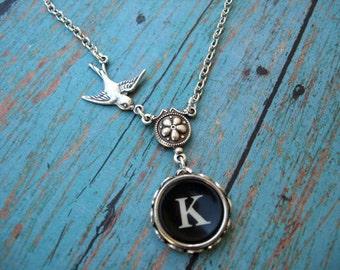 Typewriter Jewelry - Antique Typewriter Key  Necklace - Letter K with Bird