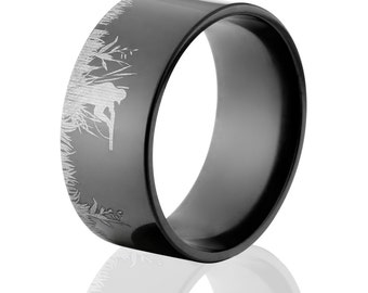 10mm Wide Black Zirconium Duck Rings, Duck Hunting Ring, Custom Made Outdoor Rings: BZ-10F-L-DuHuSc