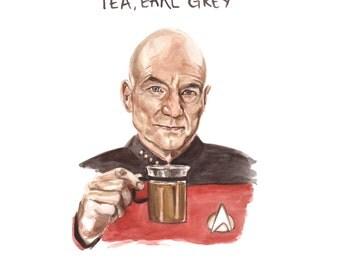 Star Trek Captain Picard Illustration - Tea Earl Grey Hot Jean Luc Picard - Star Trek TNG Print - Funny Nerd Portrait Watercolor