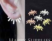 Nickel Free - High Quality Ear Jackets Golden / Silver / Rose Gold Brass Earring Jackets for Ear Cuffs and Front Back Earrings (EJ005)