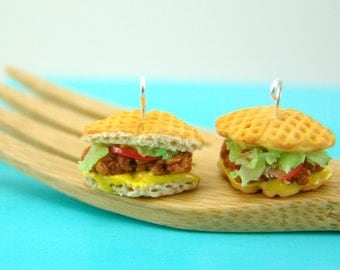 Sandwich Earrings // Chicken and Waffle Earrings // MADE TO ORDER // Food Jewelry