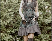 Dress - Steampunk - Bohemian Gypsy - Burning Man - Playa wear - Boho Fashion - Sexy - Crushed Velvet - Teal and Black - Size Medium