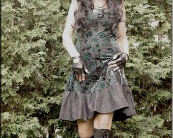 Dress - Steampunk - Bohemian Gypsy - Burning Man - Playa wear - Boho Fashion - Sexy - Crushed Velvet - Teal and Black - Size Small