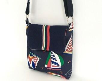 Nautical crossbody bag, sailboat handbag, navy blue purse, red white and blue, nautical purse, nautical handbag, one of a kind