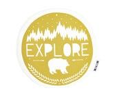 mustard yellow explore plush, explore pillow, adventure pillow, usa made, adventure print, explore print, round pillow, mustard pillow