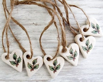 Christmas Ornaments/ Set of 6 / Christmas Decoration / Salt Dough Ornaments / Heart Ornaments