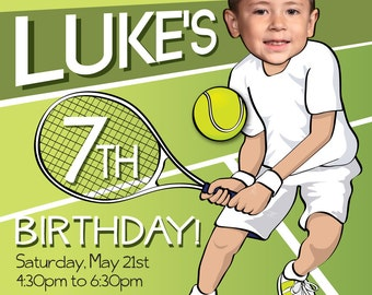 Tennis Birthday Party Invitation - Personalized with your photo DIGITAL FILE