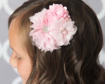 Light pink flower clip, pink hair accessories, flower girl gift, girl hair accessories, pink hair bow, girl birthday gift, cake smash outfit
