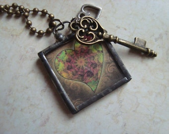 Key to my Heart Necklace - Soldered Glass Necklace, Key, Heart, One Inch  Square Pendant