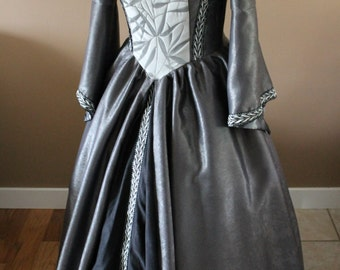 "Bust 38"" Silver Leaves Tudor Dress Ever After Renaissance Medieval Gown Game of Thrones Theme Wedding"