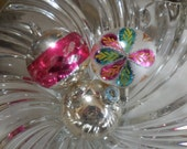 Silver & Pink Christmas 3 Large Vintage Glass Ornaments Bulbs