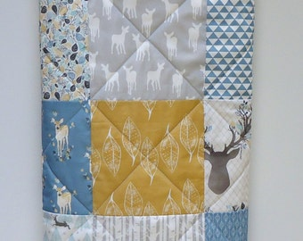 Crib Quilt-Baby Boy Quilt-Rustic Woodland Crib Bedding-Deer-Antlers-Buck-Birch Trees-Arrow Baby Blanket-Blue Mustard-Rustic Nursery Blanket