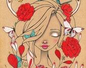 Sleeping Beauty flowers antlers butterflies ink Original Art Giclee fine art print 8x10