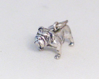 Sterling silver 3-D traditional vintage English bulldog dog show standard puppy sale animal pet theme bracelet charm / necklace pendant