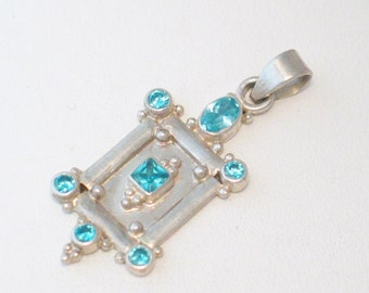 Bright swiss blue topaz Sterling silver 2-D vintage ornate bead ball picture frame door rectangle design necklace pendant womens accessories