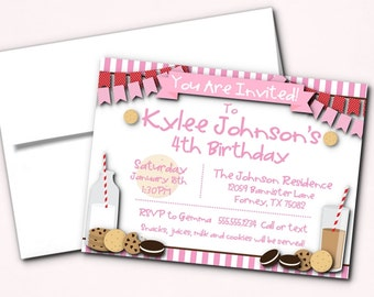 Invitations, Invite with Envelope, Birthday Party Invites, Milk & Cookies Party Invites, in Pink or Blue