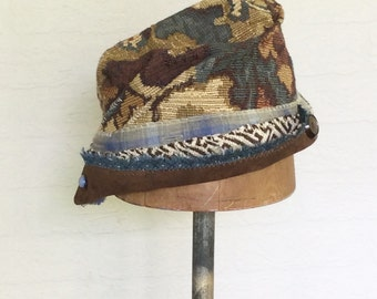 Handmade Upcycled Cloche Hat for Fall Earthy Colors of Brown and Blue,  Festival Hat, Indie Design
