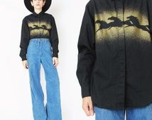 Vintage WRANGLER Shirt Horse Print Air Brush 80s Womens Western Shirt Black Cotton Long Sleeve Shirt Button Down Metallic Gold Cowgirl (S/M)