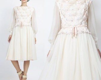 1960s Beaded Wedding Dress Chiffon Long Sleeves Wedding Gown Flared Bow Floral Beadwork Embellished Blush Pink Silk Party Dress (S) E673