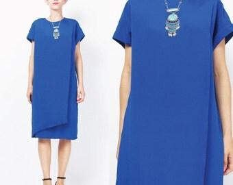 80s Silk Dress Cobalt Blue Silk Dress Modern Minimalist Silk Dress Column Draped Dress Short Sleeve Knee Length Sac Dress Bright (M) E403